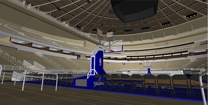 篮球馆室内空间设计su模型[原创]