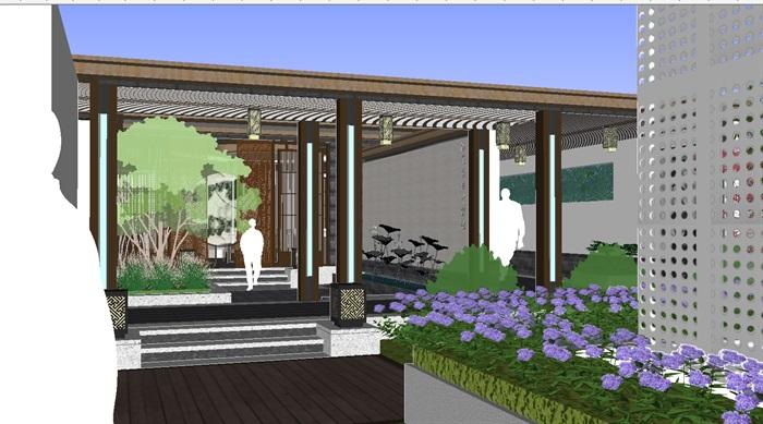 现代中式小区屋顶花园景观方案su设计模型[原创]