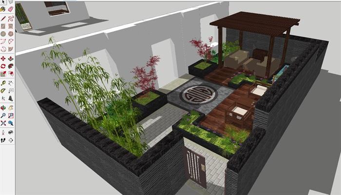 新中式别墅前后庭院花园景观方案su设计模型[原创]