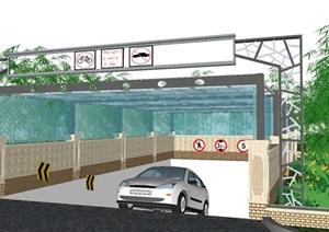 四个地下停车场入口方案SU(草图大师)设计模型