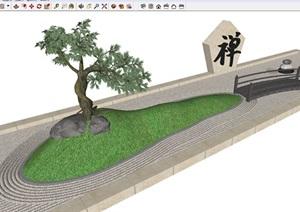 日式禅意枯山水景小品节点SU(草图大师)设计模型