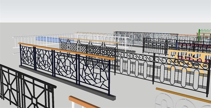 各种阳台防护栏杆合集SU设计模型(1)