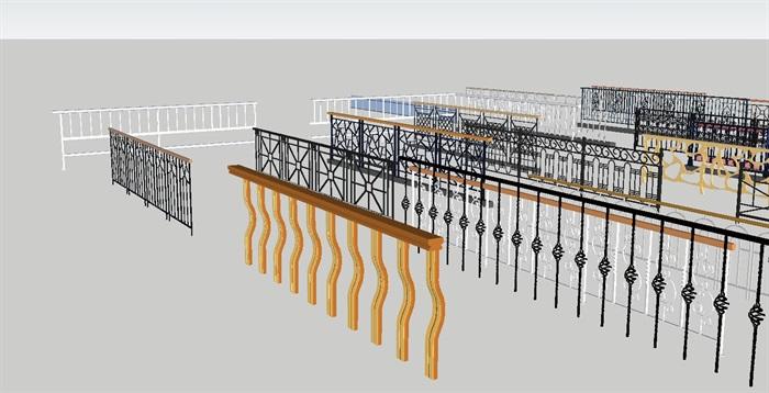 各种阳台防护栏杆合集SU设计模型(4)