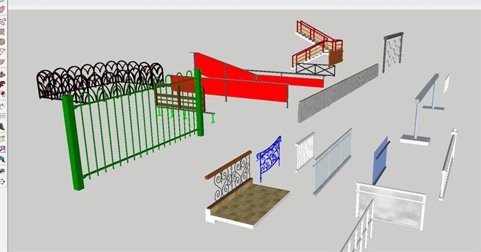 各种阳台防护栏杆合集SU设计模型(5)