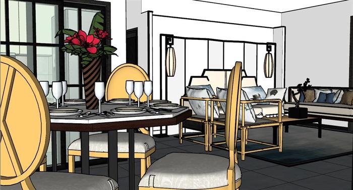 某现代风格详细室内住宅空间设计su模型[原创]