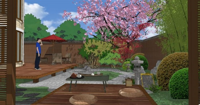一个日式小院花园su模型[原创]