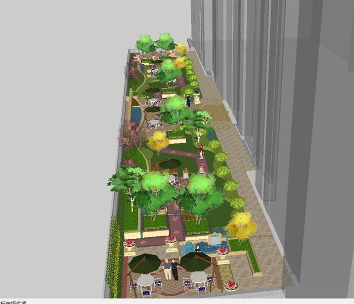 欧式屋顶花园景观方案su模型[原创]