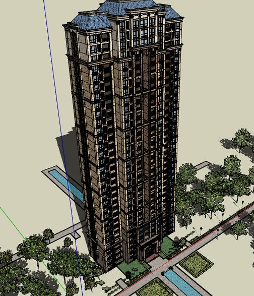某欧式详细高层详细住宅建筑楼su模型[原创]