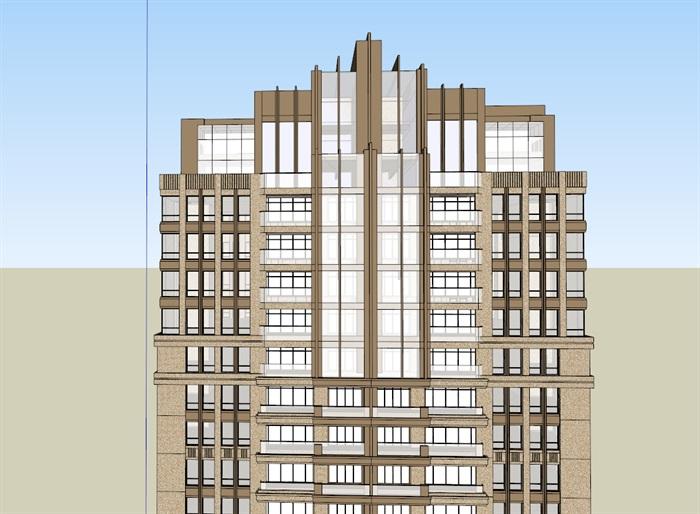 新古典風格詳細完整高層住宅樓su模型[原創]