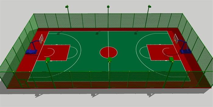 标准篮球场带铁丝网围栏su模型[原创]