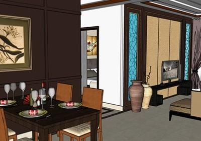 某詳細完整住宅室內空間裝飾su模型