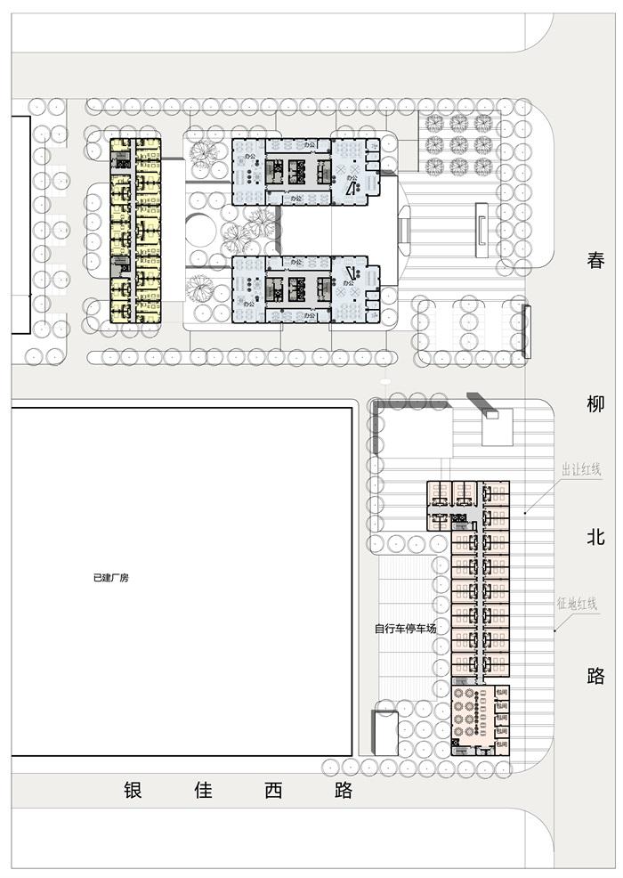 厂房加办公建筑设计su模型