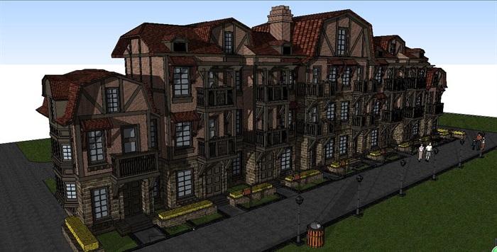 欧式古典风格别墅建筑设计su模型[原创]