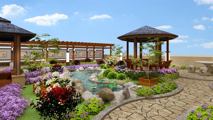 屋顶花园详细完整的景观设计su模型[原创]