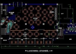中式餐厅连锁店室内CAD装修设计图-设计素材下载