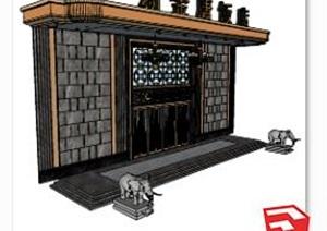 星级饭店门头素材设计SU(草图大师)模型