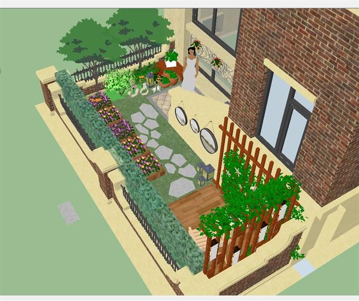 四个别墅小庭院花园方案SU模型,附件包含了四种不同的别墅庭院设计,模型有材质贴图,细节处理得当详细精致完整,具有一定的使用价值,欢迎下载。