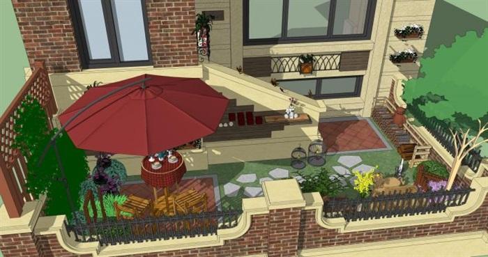 四个别墅小庭院花园方案su模型[原创]