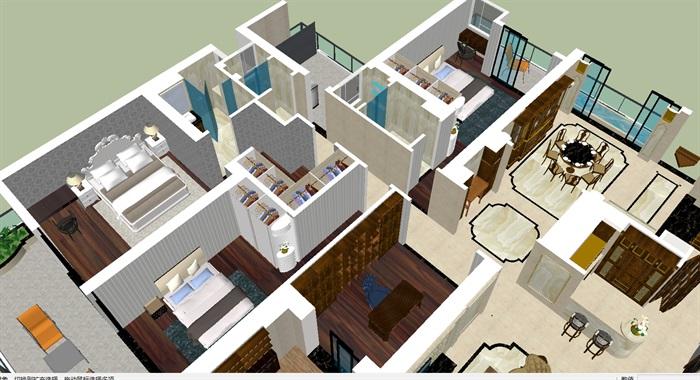 北欧风格大户型室内家装方案su模型[原创]