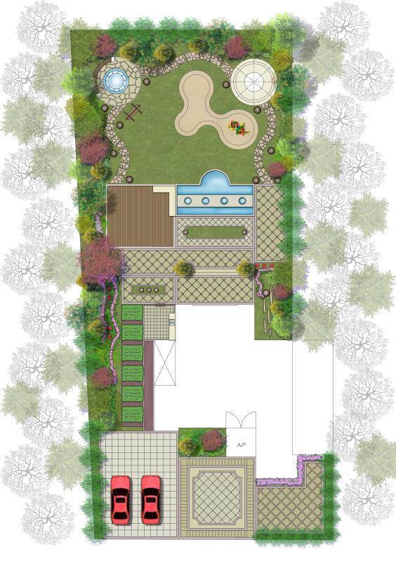 庭院景观庭院花园屋顶花园花园 资料附件目录: 欧式别墅庭院平面图