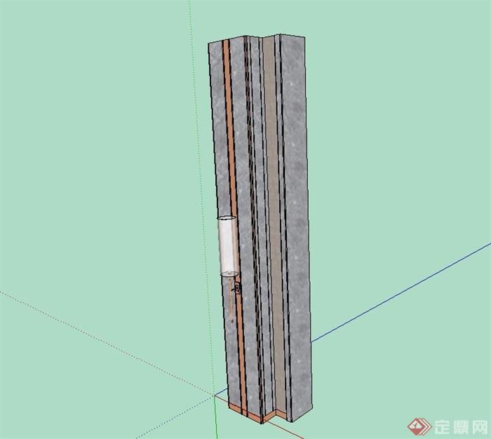 现代柱子素材设计su模型