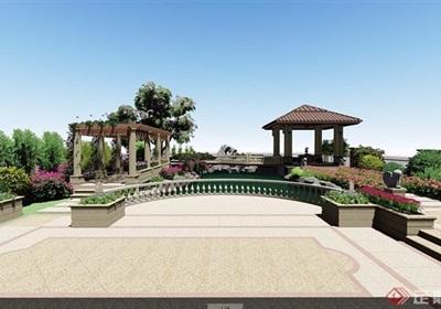 欧式别墅庭院详细景观设计su模型及效果图