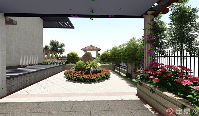 欧式别墅庭院详细景观设计su模型及效果图[原创]