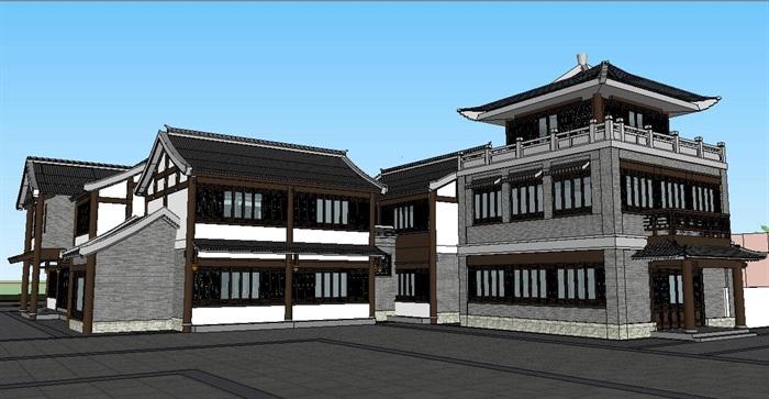 中式古建筑小外形院建筑su别墅[原创]著名模型别墅图片图片