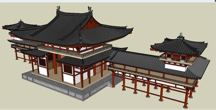 唐代旅游古建筑设计su模型[原创]