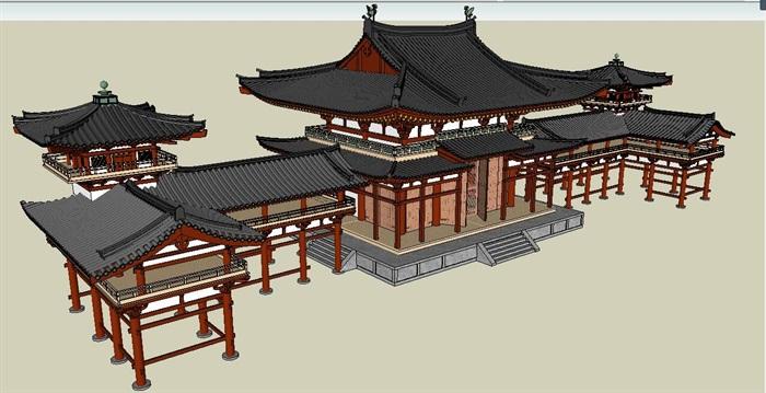 唐代旅游古建筑设计su模型[原创]图片