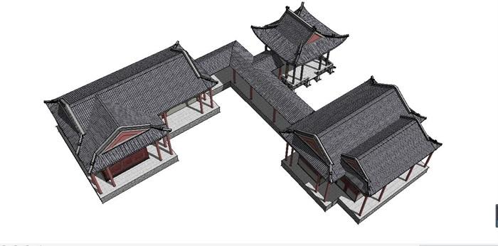 旅游古建筑中式亭,廊建筑su模型[原创]