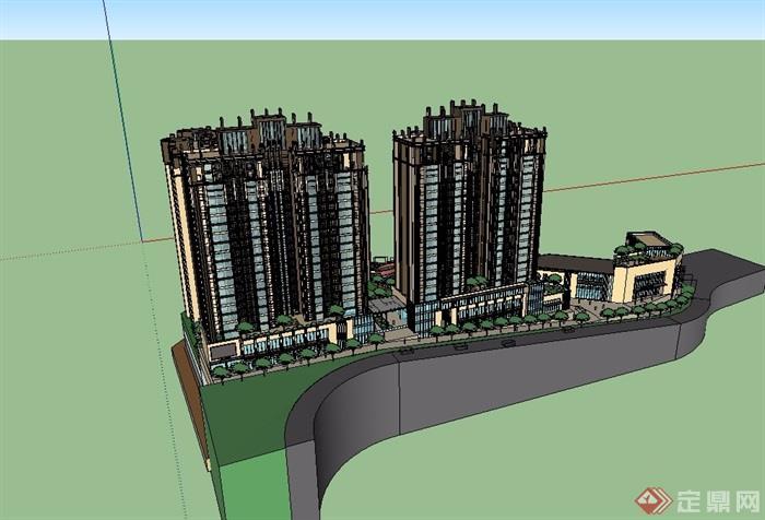 新古典风格详细的商业住宅楼su模型