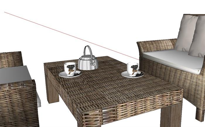 室外藤编沙发茶几素材设计su模型