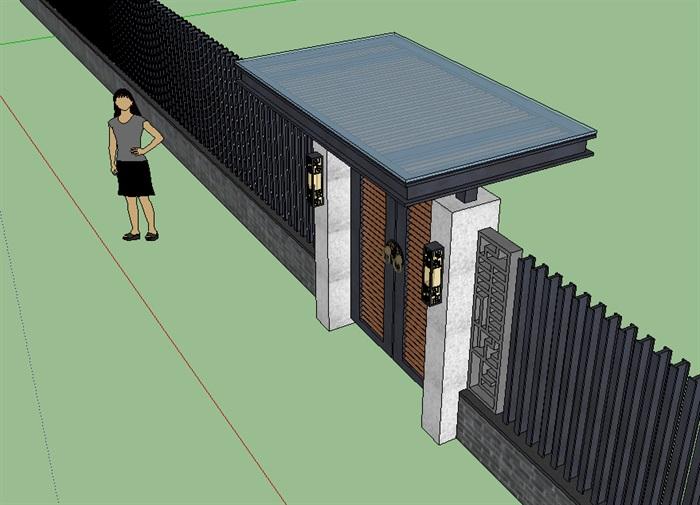 新中式院门围墙大门设计su模型