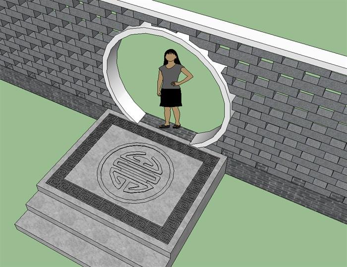 新中式月洞门地雕景墙设计su模型[原创]