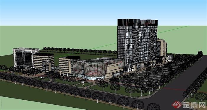 现代商业办公建筑楼详细设计su模型[原创]