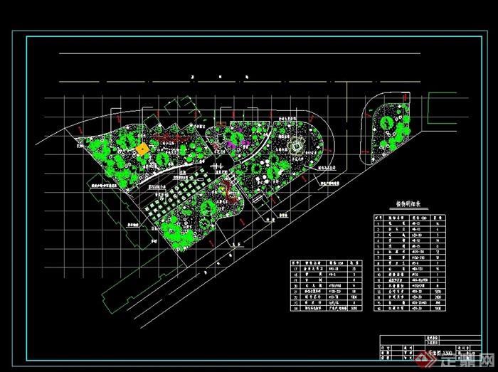 某大道三角道路绿地绿化设计cad方案图[原创]图片