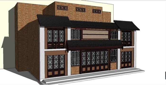 中式二层商业建筑设su模型[原创]