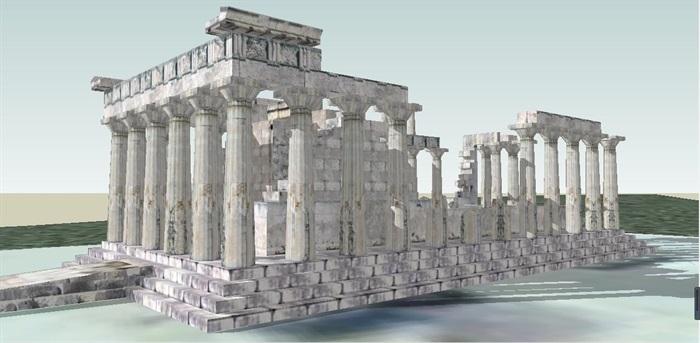 著名雅典娜神殿建筑设计su模型素材[原创]