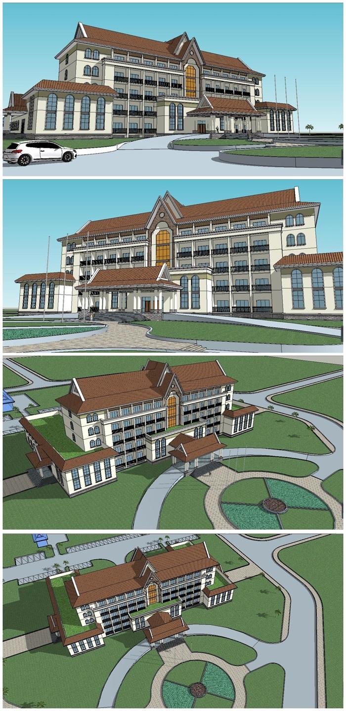 欧式风格独栋写字楼办公楼建筑su模型[原创]