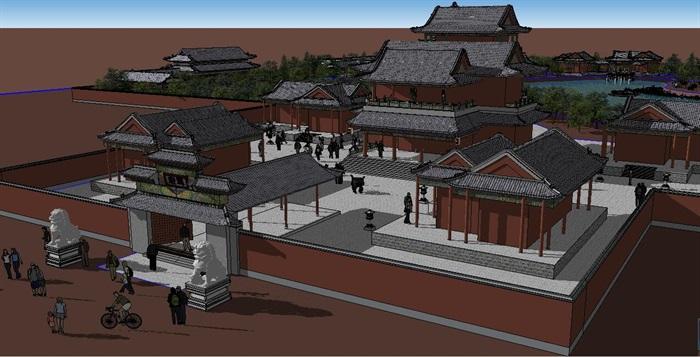 中式古典风格建筑及园林景观设计su模型[原创]
