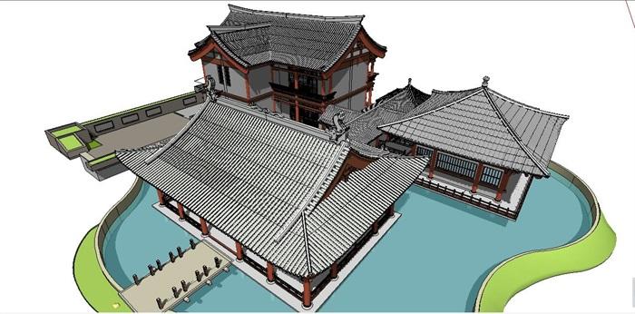 古典中式风格宋代古建筑设计su模型[原创]图片