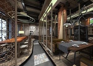 现代工业风咖啡厅装潢方案SU模型
