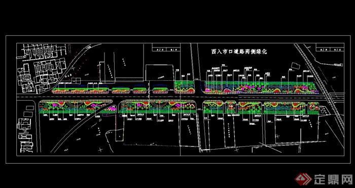 西入市口道路两侧绿化cad平面图[原创]图片