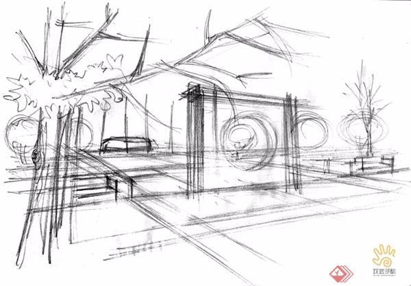 一、起形定位 基础不是很好的同学可以先用铅笔勾勒建筑整体,周围环境可以简单线条表示,但这一步也仅仅是素描里的起形阶段,比例尺寸定位准确即可,无需步步到位细节完善。 二、墨线定稿 铅笔定好位之后就是钢笔墨线了,仍然是基础不好的同学可借用尺规将中长线大体画出,短线以及植物线等可徒手勾勒,重点依然是建筑,墨线画完之后还要根据光源确定明暗,并用单方向的排线画出暗部及阴影。 三、色彩搭配 对于上色大部分同学关注的应该是上色前如何确定色彩搭配,整体色彩基调的控制可以遵循两个原则:1、根据主体建筑的性质功能,首先确定建