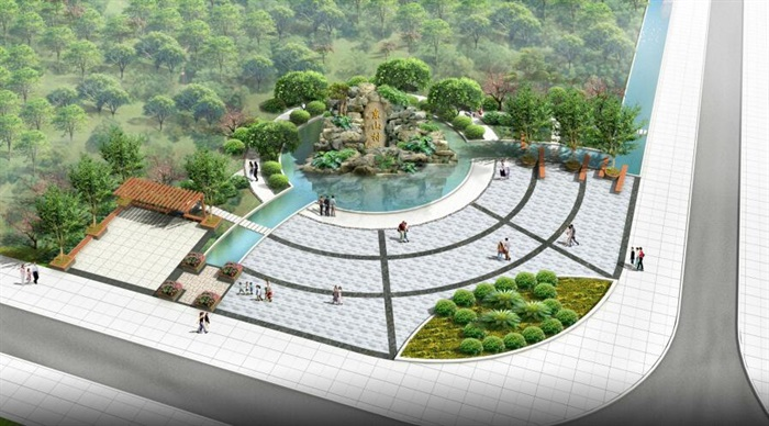 某农村入口小广场设计景观设计cad施工图 效果图 模型