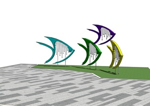 鱼雕塑小品素材设计SU(草图大师)模型