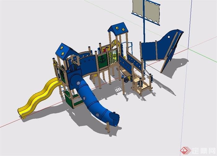 小区精致的儿童游乐设施设计su模型[原创]