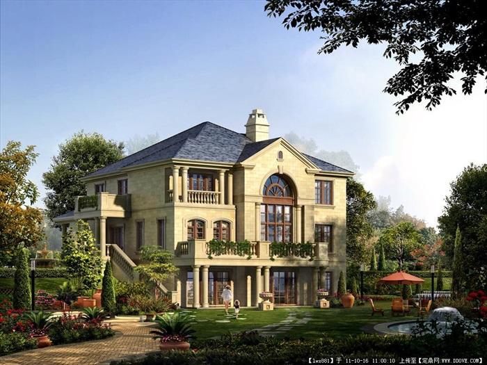 3层法式风格独栋别墅效果图和施工图[原创]