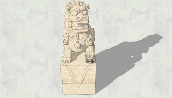 带底座石狮子雕塑su模型[原创]